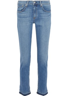 Rag & Bone Woman Dre Frayed Mid-rise Slim-leg Jeans Mid Denim