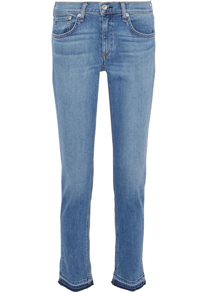 Rag & Bone Woman Dre Frayed Mid-rise Slim-leg Jeans Mid Denim