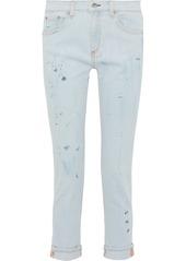 Rag & Bone Woman Dre Painted Mid-rise Slim-leg Jeans Light Denim