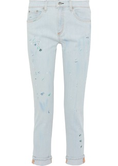 Rag & Bone Woman Dre Painted Mid-rise Slim-leg Jeans Light Denim
