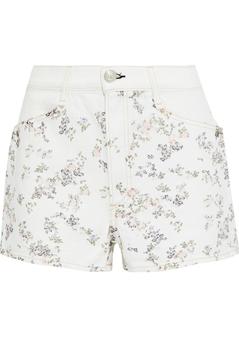 Rag & Bone Woman Ellie Floral-print Denim Shorts White