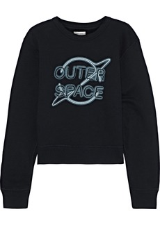Rag & Bone Woman Embroidered Printed French Cotton-terry Sweatshirt Black