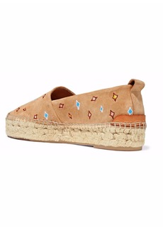 Rag & Bone Woman Embroidered Suede Espadrilles Beige