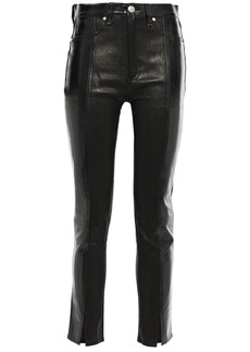 Rag & Bone Woman Evelyn Cropped Crinkled Patent-leather Skinny Pants Black
