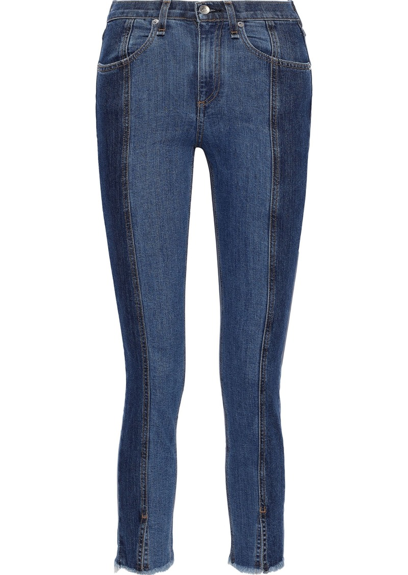 Rag & Bone Woman Evelyn Cropped Frayed High-rise Skinny Jeans Blue