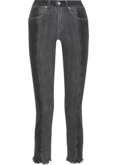 Rag & Bone Woman Evelyn Cropped Two-tone High-rise Slim-leg Jeans Charcoal