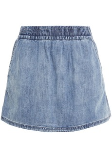 Rag & Bone Woman Faded Denim Mini Skirt Light Denim