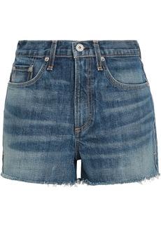 Rag & Bone Woman Faded Denim Shorts Mid Denim