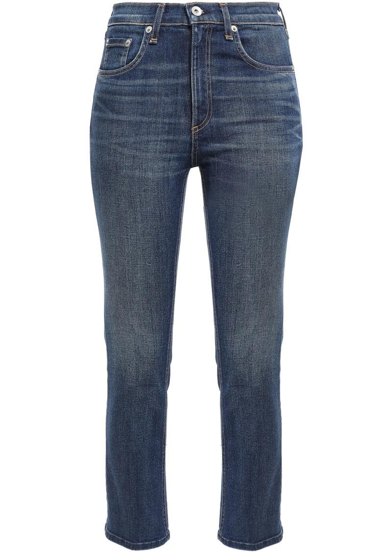 Rag & Bone Woman Faded High-rise Slim-leg Jeans Mid Denim