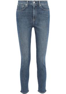 Rag & Bone Woman Faded High-rise Skinny Jeans Mid Denim