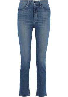 Rag & Bone Woman Faded High-rise Slim-leg Jeans Mid Denim