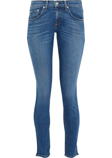 Rag & Bone Woman Faded Low-rise Skinny Jeans Mid Denim