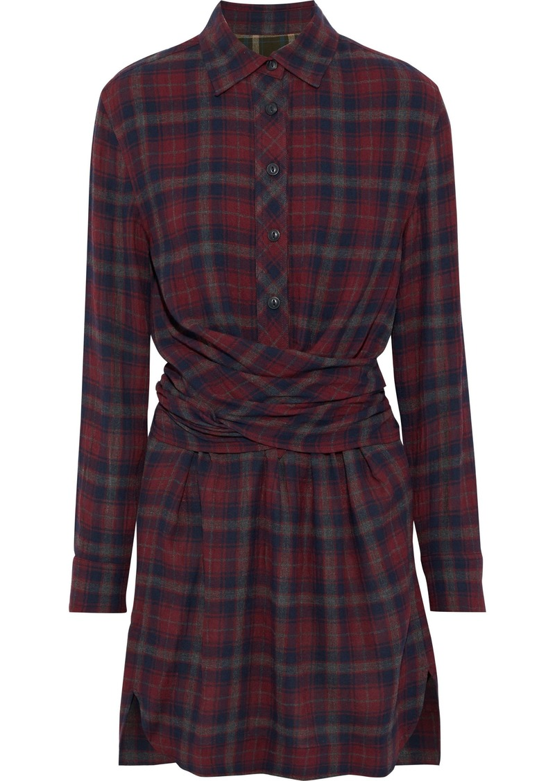 Rag & Bone Woman Felicity Tie-back Checked Flannel Mini Shirt Dress Brick