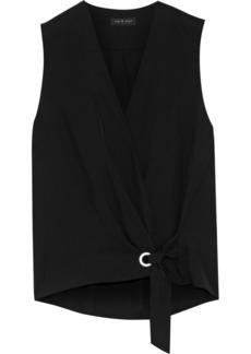 Rag & Bone Woman Felix Wrap-effect Knotted Crinkled-twill Top Black