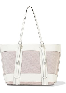 Rag & Bone Woman Field Leather-trimmed Striped Cotton-canvas Tote Ivory
