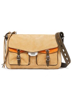 Rag & Bone Woman Field Leather-trimmed Two-tone Suede Shoulder Bag Sand