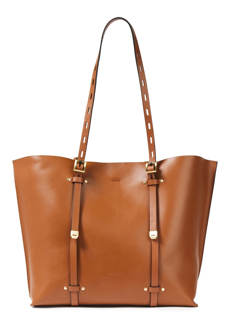 Rag & Bone Woman Field Studded Leather Tote Camel
