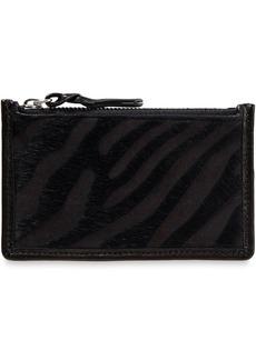 Rag & Bone Woman Field Zebra-print Leather And Calf Hair Cardholder Black