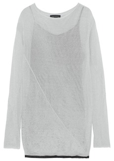 Rag & Bone Woman Flora Metallic Open-knit Mini Dress Silver