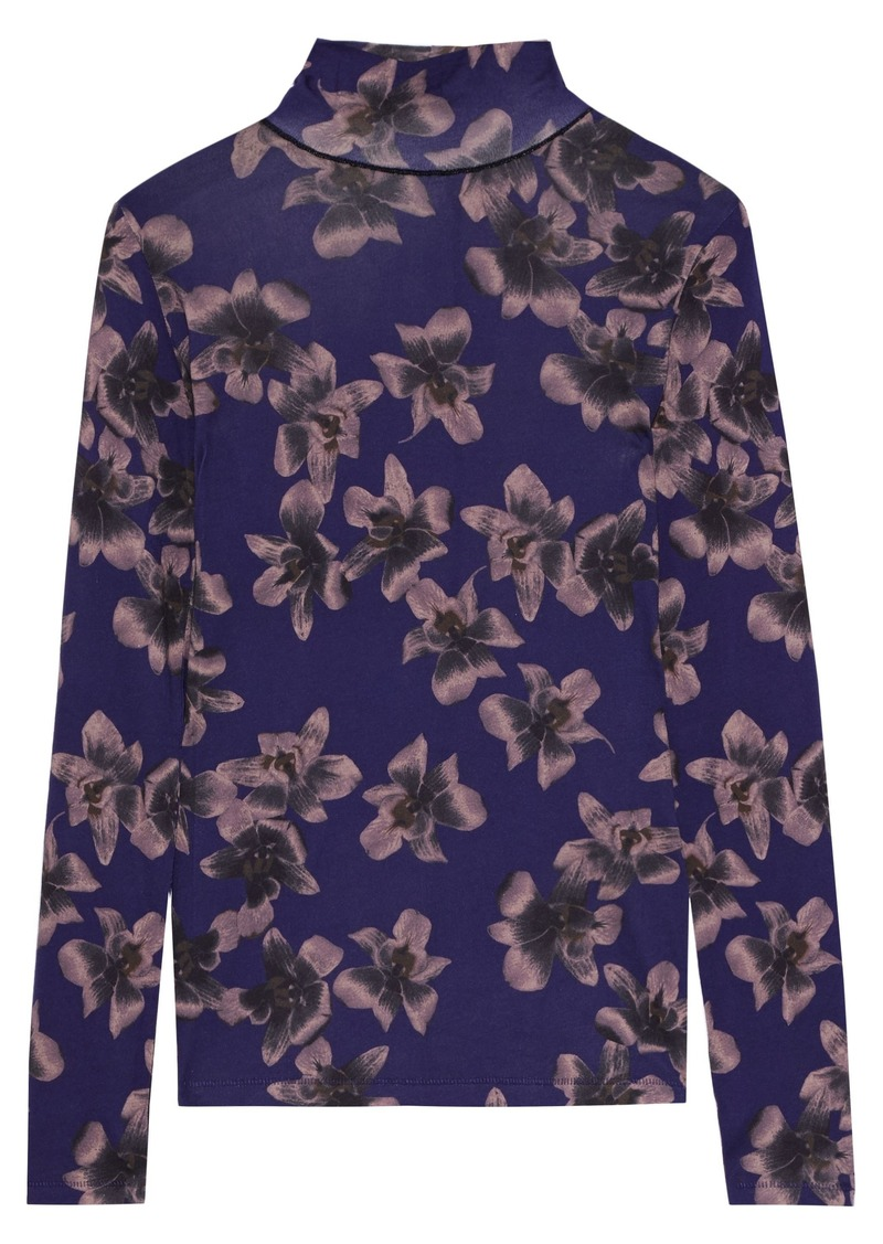 Rag & Bone Woman Floral-print Cotton And Modal-blend Turtleneck Top Violet