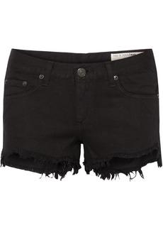 Rag & Bone Woman Frayed Denim Shorts Black