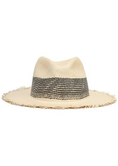 Rag & Bone Woman Frayed Straw Panama Hat Beige
