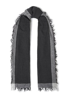 Rag & Bone Woman Frayed Wool And Cotton-blend Gauze Scarf Black
