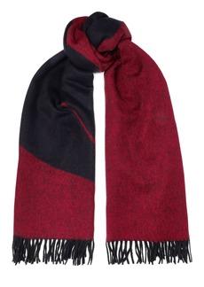 Rag & Bone Woman Classic Fringed Brushed Wool-jacquard Scarf Claret