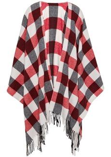 Rag & Bone Woman Fringed Checked Wool-blend Felt Wrap Red