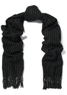 Rag & Bone Woman Fringed Pinstriped Wool Scarf Black