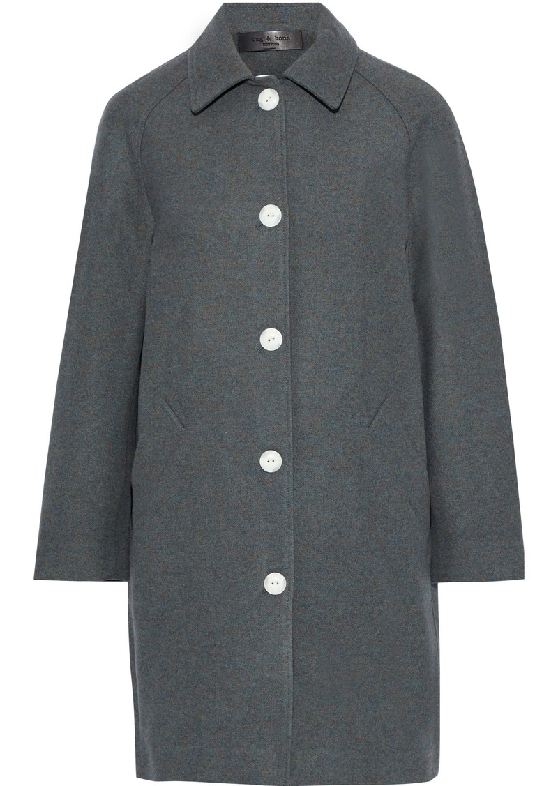 Rag & Bone Woman Gemma Snap-detailed Marled Wool-blend Felt Coat Dark Gray