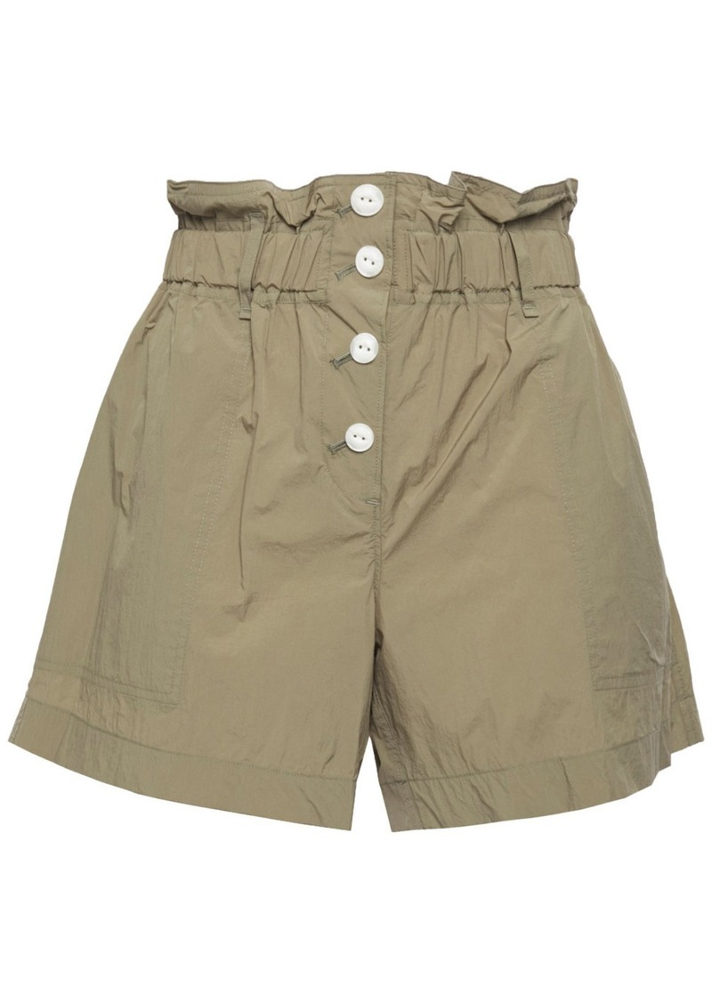 Rag & Bone Woman Glenn Ruffle-trimmed Shell Shorts Sage Green