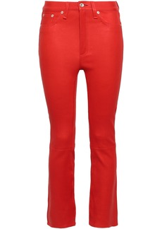 Rag & Bone Woman Hana Cropped Leather Slim-leg Pants Red