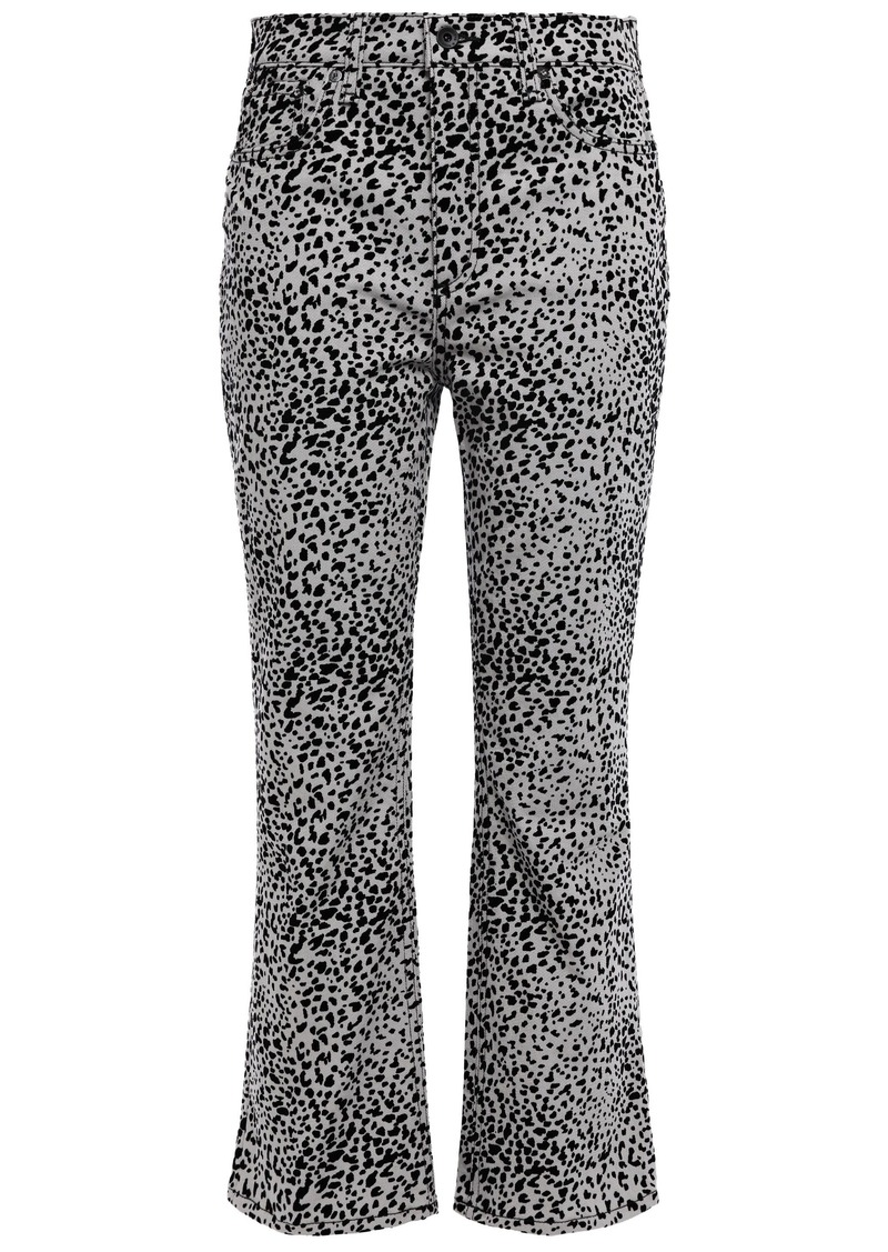 Rag & Bone Woman Hana Flocked High-rise Kick-flare Jeans Light Gray