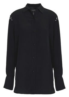 Rag & Bone Woman Hana Macramé-trimmed Silk Crepe De Chine Shirt Black