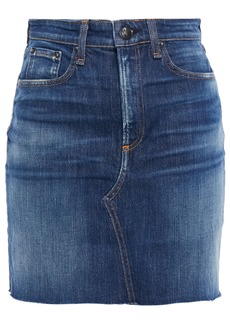 Rag & Bone Woman Hayden Distressed Faded Denim Mini Skirt Dark Denim