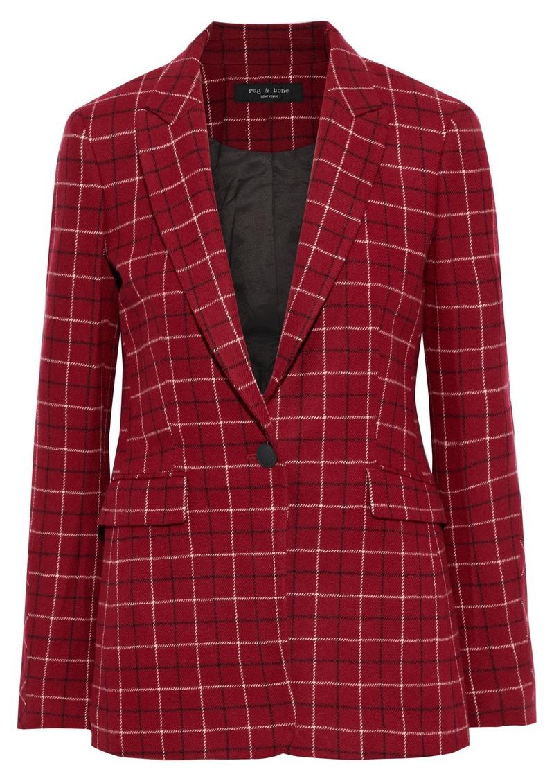 Rag & Bone Woman Hazel Checked Wool-blend Blazer Claret