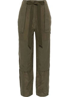 Rag & Bone Woman Henri Belted Silk-twill Tapered Pants Army Green