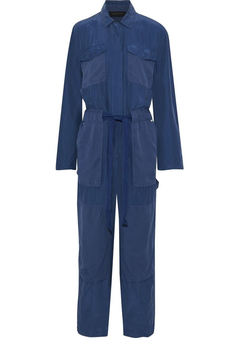 Rag & Bone Woman Henri Tie-front Washed-silk Jumpsuit Cobalt Blue