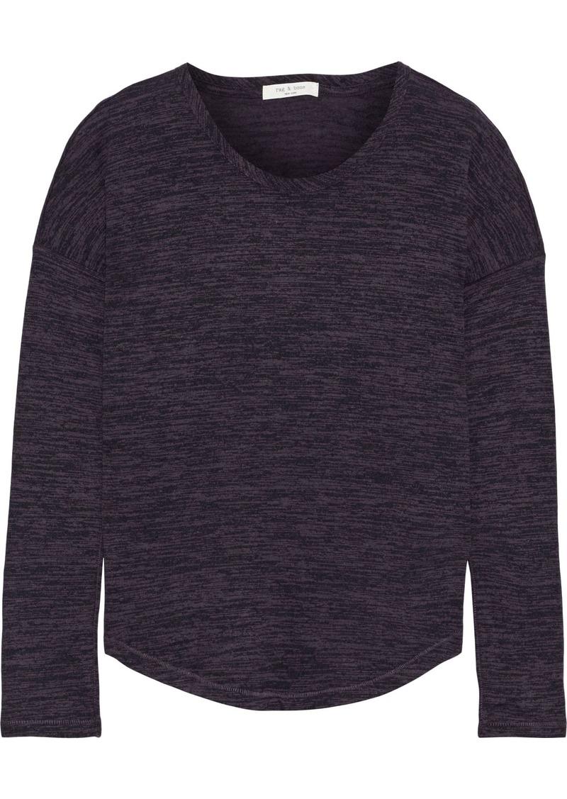 Rag & Bone Woman Hudson Mélange Stretch-knit Top Dark Purple