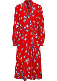 Rag & Bone Woman Hugo Floral-print Crepe Midi Wrap Dress Red