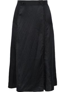 Rag & Bone Woman Hugo Hammered-silk Wrap Skirt Black