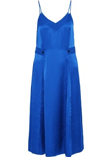 Rag & Bone Woman Hugo Pleated Hammered Silk-satin Midi Slip Dress Bright Blue