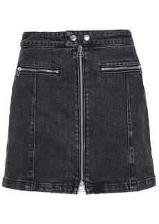 Rag & Bone Woman Isabel Zip-detailed Faded Denim Mini Skirt Black