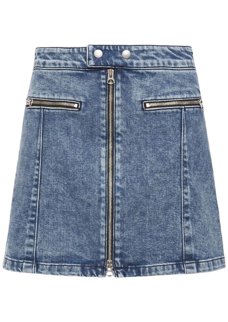 Rag & Bone Woman Isabel Zip-detailed Faded Denim Mini Skirt Mid Denim
