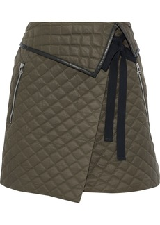 Rag & Bone Woman Jane Leather-trimmed Quilted Twill Mini Wrap Skirt Army Green
