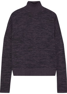 Rag & Bone Woman Jane Mélange Stretch-knit Turtleneck Sweater Dark Purple