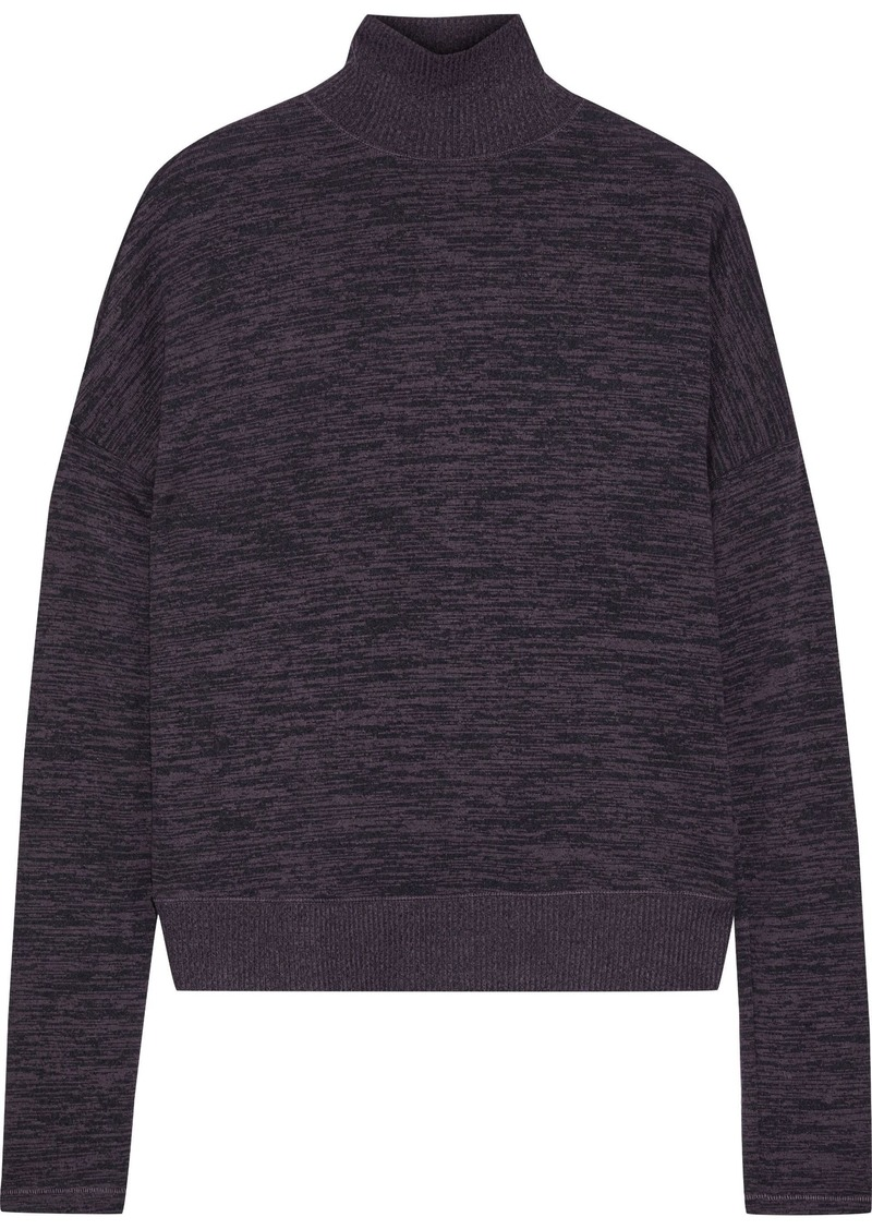 Rag & Bone Woman Jane Mélange Stretch-knit Turtleneck Sweater Dark Purple
