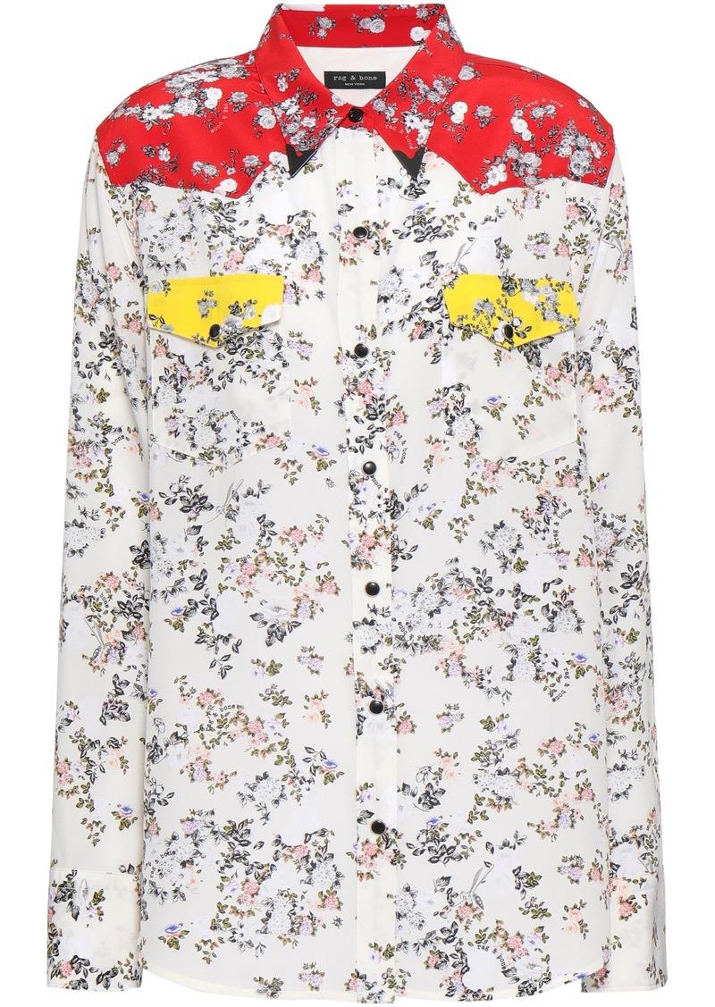 Rag & Bone Woman Jasper Embellished Floral-print Silk Crepe De Chine Shirt Ivory