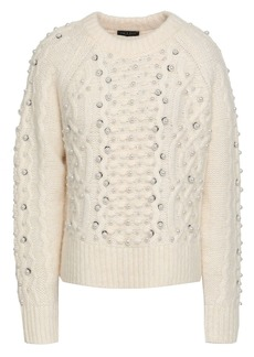 Rag & Bone Woman Jemima Embellished Cable-knit Merino Wool Alpaca And Linen-blend Sweater Cream